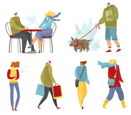 collection of strolling, and people walking in the autumn time of year on white background isolated objects different character vector set
