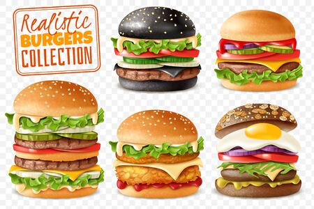 Realistic burgers collection transparent background set. Realistic ready Burgers set with isolated elements which are easy to change and move on transparent background with separate isolated items 向量圖像