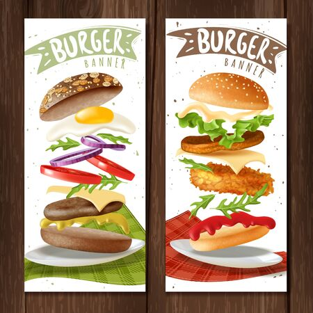Realistic burger vertical banners. Two fast food burgers vertical banners on wooden surface with hamburgers on a white backgrounds hipster style