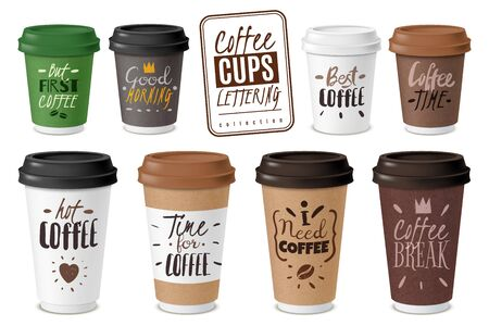 Realistic coffee disposable cups emblems set