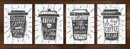 Realistic coffee cup posters set Standard-Bild - 133331993