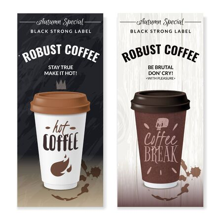Realistic coffee disposable cups vertical banners Standard-Bild - 133331988