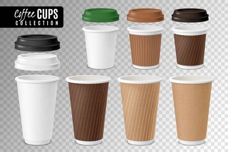 Realistic coffee disposable cups transparent set