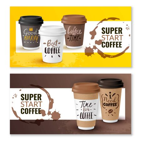 Realistic coffee disposable cups vertical banners Standard-Bild - 133331995