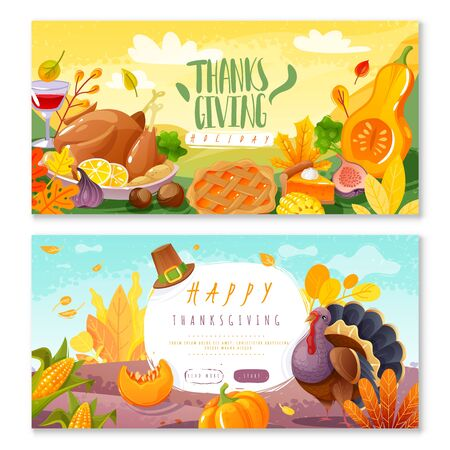 Thanksgiving day horizontal banners 向量圖像