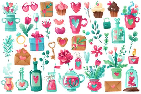 Great set on the theme of Valentines day love holiday. isolated objects in cartoon style. In cold pink and blue. Symbols, love, romance, hearts, flowers, wine, cards, bouquets, ring, rose, cupcakes, sweets Иллюстрация