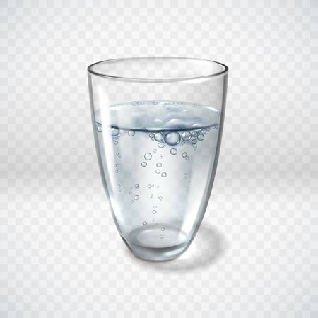 A glass of clean aerated water on a transparent background. Simple vector illustration. Realistic style. Bubbles, mineral water illustration