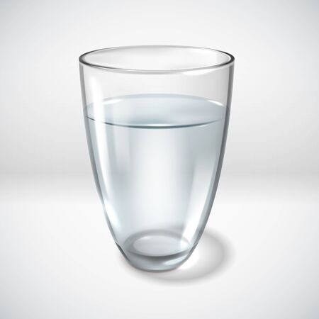 A glass of clean water on a white background. Simple vector illustration. Realistic style Ilustrace