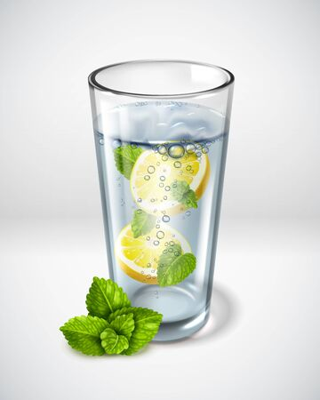 Realistic detailed green leaves mint. Greens in a clear glass of water. Slices of lemon, sparkling water, soda. Vector illustration Ilustracja