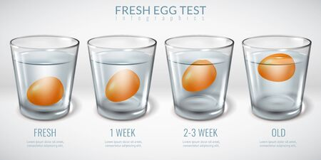 Realistic glass glasses infographics. Egg floating freshness test glass water. Realistic horizontal illustration. Physical experience. Expiration date check. Vector infographics Ilustracja