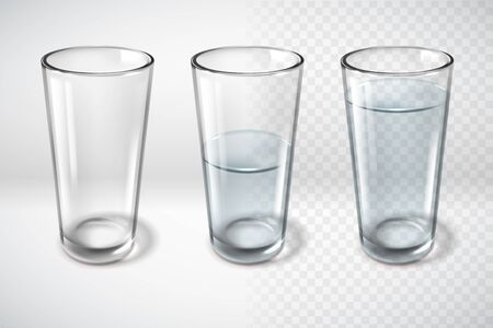 A glasses with different water levels on a white and transparent background. Simple vector illustration. Realistic style
