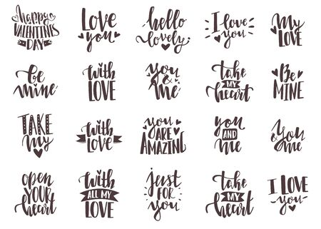 Lettering inscriptions valentines day set. 20 hand lettering romantic valentine quotes. Hand drawn holiday inscriptions set with romantic phrases about love. Collection of stylish Valentines day phras