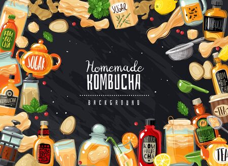 Kombucha fermented probiotic tea horizontal frame illustration. Chalk lettering slate hipster style. Ingredients for drink. Vector background