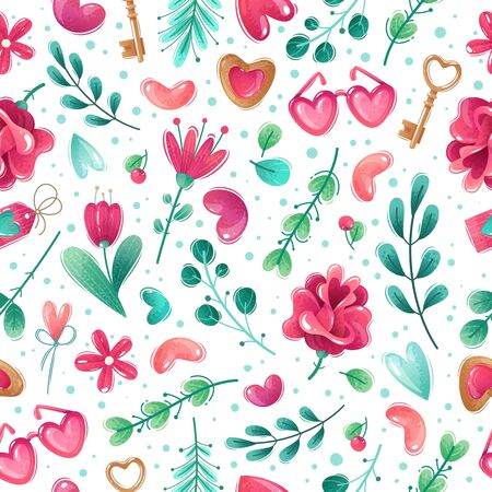 Seamless pattern on white background Valentines day items. Flowers, hearts, sprigs, leaves. Decorative thikngs. Pink-blue gamma Иллюстрация