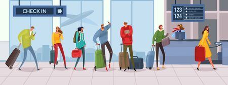 Passengers at the airport at the check-in Desk. Cartoon people in line. Horizontal vector illustration panorama. The interior of the terminal. Men and women with bags and suitcases. People with Luggage Ilustrace