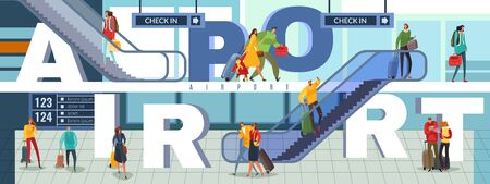 Horizontal vector illustration panorama. The internal space of the airport with passengers, escalators, signs, floors. The big word is the airport, around which a composition of people and interior elements of the terminal is formed.