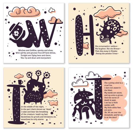 Conjunto de cuatro plantillas de tarjetas de monstruos divertidos con canciones infantiles cortas en estilo de terror. Ilustración vectorial. Tarjeta dibujada a mano para fiestas e invitaciones a fiestas. Historias ilustradas de miedo en verso Ilustración de vector