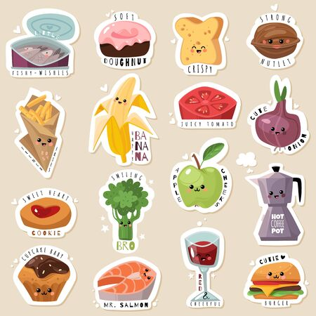 Grocery sticker pack in cute cartoon flat style. Isolated objects. Food products collection. Nice food emblems. Vector illustration Vettoriali