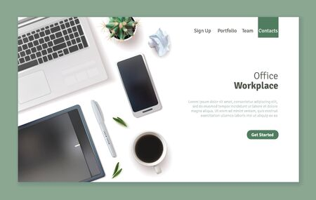 Realistic workplace landing page design. Desktop top view. Pen, smartphone, white notebook, coffee cup. Vector illustration Vektorové ilustrace