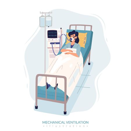 Quarantine virus cartoon people simple illustration. Mechanical ventilation poster. A woman is lying on a bed in a hospital room, connected to a ventilator In a flat cartoon style. Vector illustration