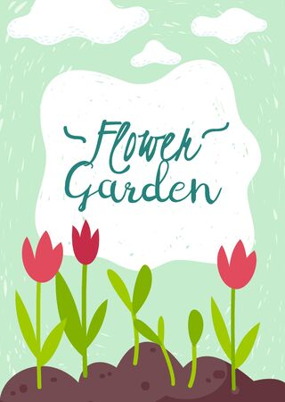 Vertical poster on the garden theme cartoon style with tulips flowers and clouds. Vector illustration