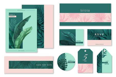 Tropical leaves set of wedding cards. Invitations to the celebration. Pink-and-blue scheme. Vector illustration Иллюстрация