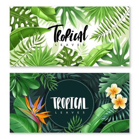 Tropical leaves horizontal banners. Two horizontal banners dark and light. Tropical leaves and flowers in a realistic style. Leafy framing. Vector illustration