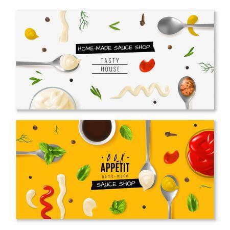 Realistic mayonnaise horizontal banners Vector Illustratie