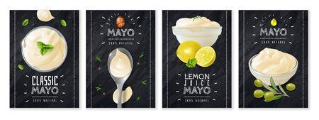 Realistic mayonnaise cards Vector Illustratie