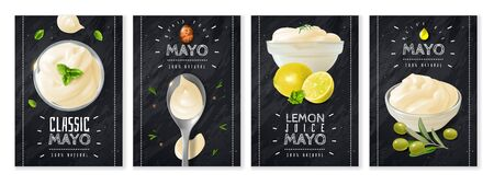 Realistic mayonnaise cards