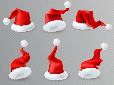 Christmas Santa hats transparent set. Christmas Santa red hats collection. Realistic style isolated items on a wtransparent background. Holiday traditional symbol. New year head gears set. Vector illustration