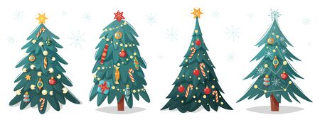 Decorated Christmas trees. Christmas trees collection. Cartoon flat style. Holiday garlands, snowflakes and bulbs. Vector illustration