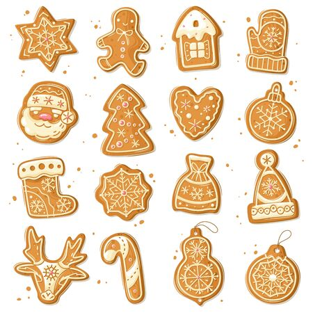 Christmas gingerbread set. Christmas gingerbread cookies. Cartoon style. New years baking figures set. Vector illustration