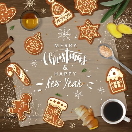 Christmas gingerbread cooking frame illustration. Christmas ginger cookies. Vector Illustration frame realistic cartoon style. Baking holiday gingerbread. Kitchen utensils and ingredients. Wooden background. Greeting lettering