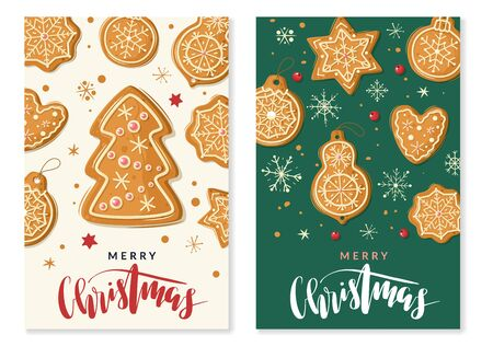 Christmas gingerbread cooking vertical banners. Christmas ginger cookies. Vector vertical banners cartoon style. Baking holiday gingerbread. Hands roll out the dough. Greeting text
