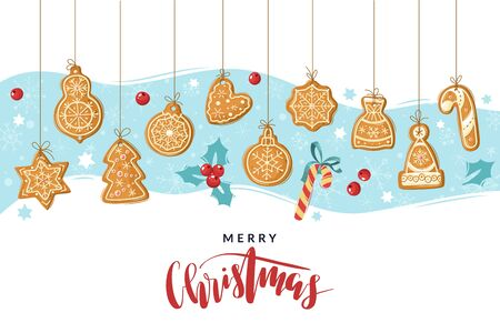 Christmas gingerbread cooking poster. Christmas ginger cookies. Baking holiday gingerbread. Vector illustration