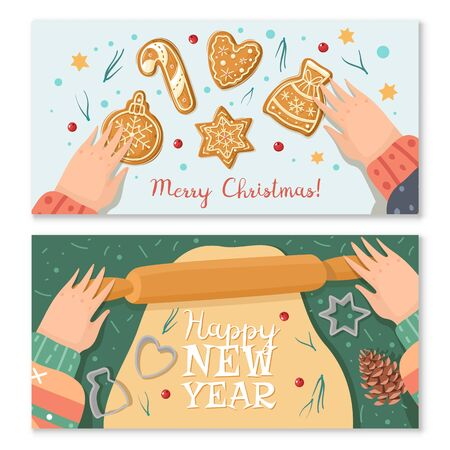 Christmas gingerbread cooking horizontal banners. Christmas ginger cookies. Vector horizontal banners cartoon style. Baking holiday gingerbread. Hands roll out the dough. Greeting text