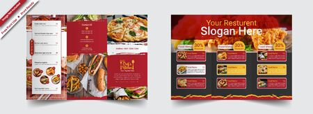The restaurant vector editable layout of square format covers design templates for trifold brochure, flyer, magazine. Creative trendy style mockups, blue color trendy design backgrounds.