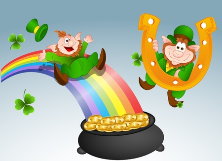 rainbow slide: Leprechaun Vectors