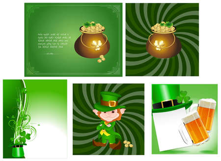 Patrick s Day Cards Vectors Illustration