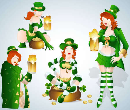 St  Patrick s Day Bar Girls Vectors Vector