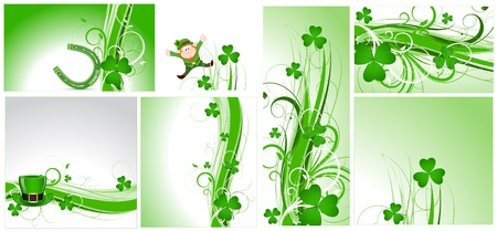 St  Patrick s Day Flourish Backgrounds Stock Vector - 12498259