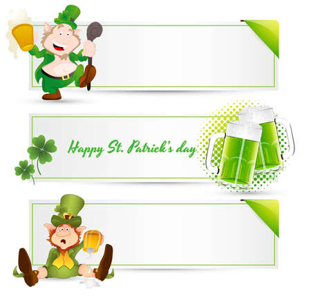 St  Patrick's Day Leprechaun Banners Vector