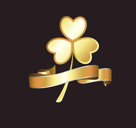St  Patrick's Day Golden Banner Vector