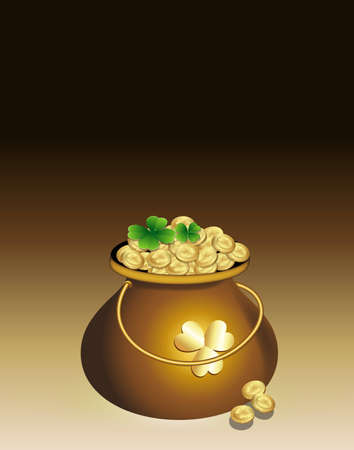 Cauldron of Gold Coins Stock Vector - 12498359