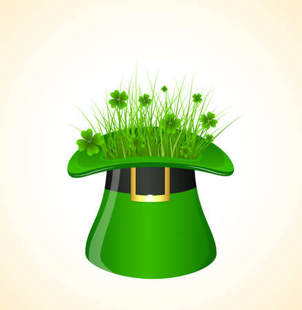 Clover Leaves in Leprechaun Hat Vector