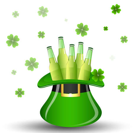 Beer Bottles in St  Patricks Day Hat Vector