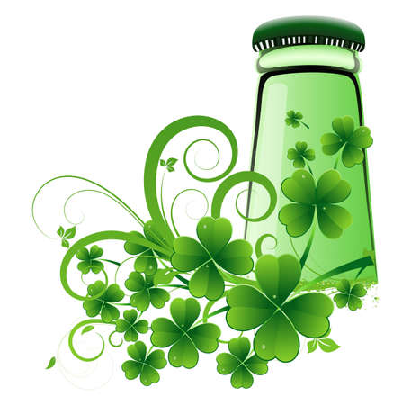 Beer Bottle with Clover Leaves Vector