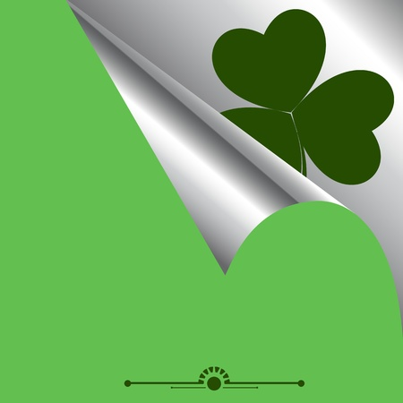 Curled Paper with Shamrock Background Vector