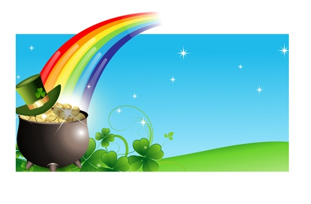 flower pots: Abstract St  Patricks Day Banner Illustration